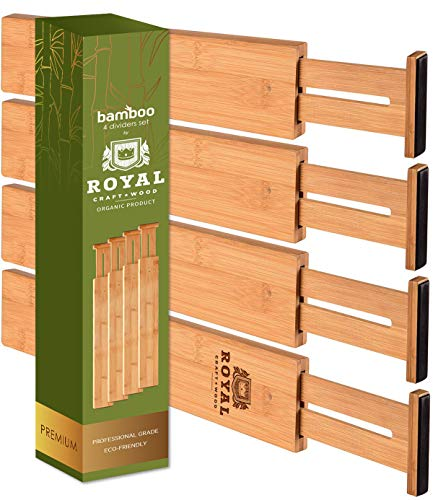 Adjustable Bamboo Drawer Dividers Organizers - Expandable Drawer Organization Separators For Kitchen Dresser Bedroom Bathroom and Office 4-Pack 17-22 IN Natural