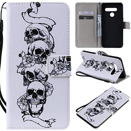 nancencen Kompatibel mit Handyhülle LG V50 Hülle, Painted Individuellkeit PU Leder Tasche Schutzhülle Hülle [Schädel]