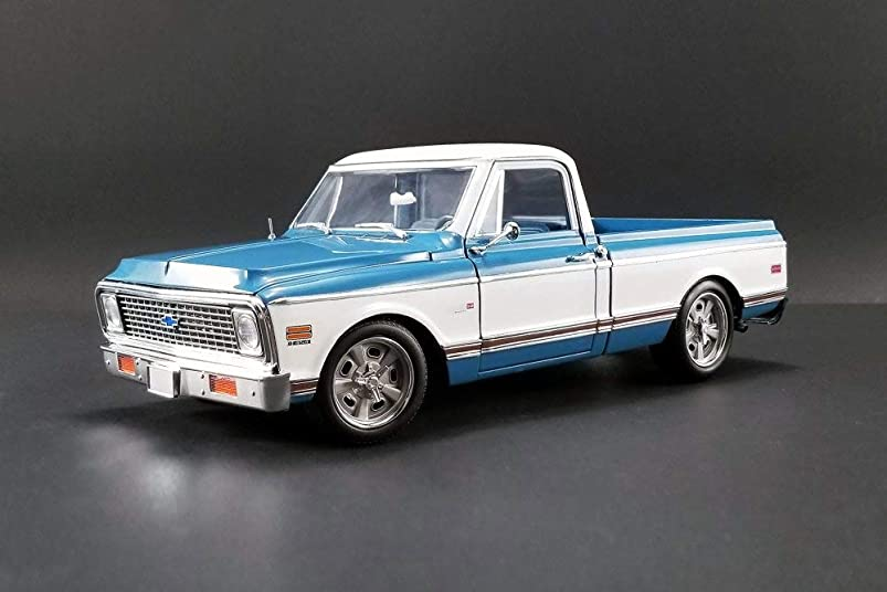 1971 Chevy C10 Custom Pickup Truck, Blue with White - Acme 1807209 - 1/18 Scale Diecast Model Toy Car kxzelwax582507
