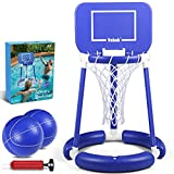 JUOIFIP Pool Basketball Hoop Floating Basketball Hoop for Swimming Pool Water Basketball Hoop for Kids Adults Competitive Water Land Play Game Set, 2 Balls and Pump Included