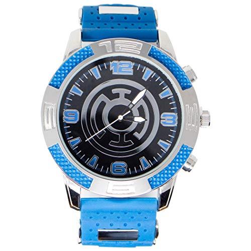 Armbanduhr mit blauem Laternen-Symbol, mit Gummiband.