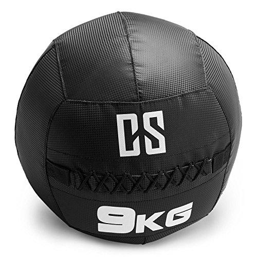 CapitalSports Bravor Balón Medicinal PVC 9 Kg (Entrenamiento del Core, Funcional y Cross, Resistente Acabado Robusto, Cosido Doble) - Negro