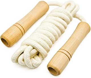 Cotton Jump Rope for Kids - Wooden Handle - Adjustable Cotton Braided Fitness Skipping Rope - Outdoor Fun Activity, Great Party Favor, Exercise Activity
