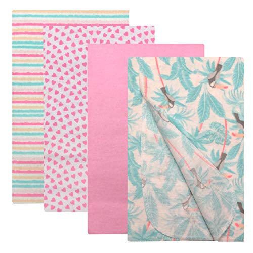 Modern Baby Receiving Blankets for Baby Boy & Baby Girl 4 Pack Flannel Blanket Set 100% Cotton Fabric One Size