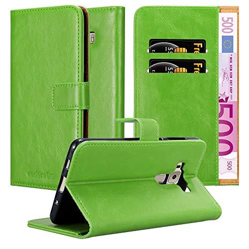 Cadorabo Hülle für Asus ZenFone 3 Deluxe - Hülle in Gras GRÜN – Handyhülle im Luxury Design mit Kartenfach & Standfunktion - Hülle Cover Schutzhülle Etui Tasche Book