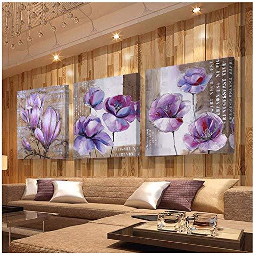 Modern wandschilderij met paarse bloem voor thuis moderne afbeeldingen op canvas voor de woonkamer 3x40x40cm Geen frame.