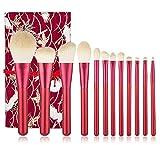 Dpliu Cepillo de Maquillaje Rojo Profesional Conjunto de 12 Piezas Fundación Sintética Sintética de 12 Piezas Mezcla Concurrí Casón Cosmético Ojo Blush Powder Kits (Color : Red 1)