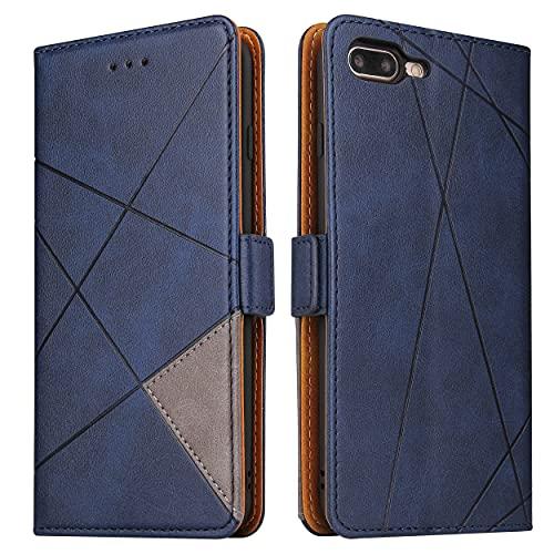 BININIBI Handyhülle für iPhone 7 Plus Hülle, iPhone 8 Plus Hülle, Lederhülle Handytasche Flip Hülle, Tasche Leder Schutzhülle für iPhone 7 Plus/8 Plus, Blau