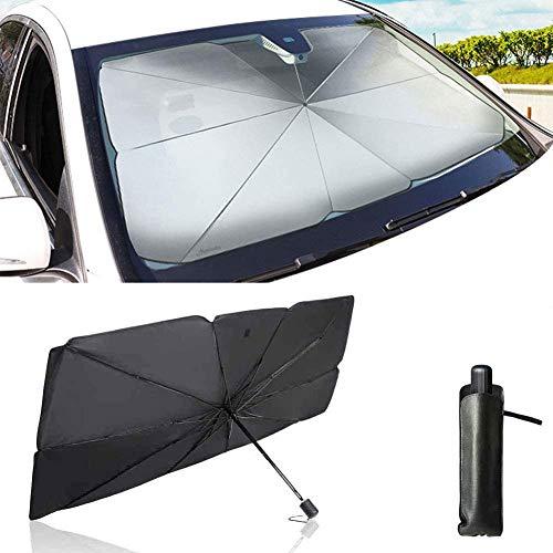 Auto Sonnenschirm, Faltbare Auto Frontscheibe Sonnenschutz, UV-Block Auto Sonnenschutz, Regenschirm Windschutzscheibe Für LKWs Autos Abdeckungen (79 * 145 cm groß)
