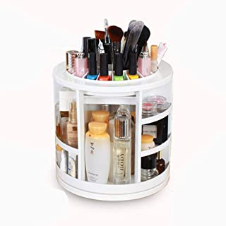 360° Rotating Cosmetic Cosmetic Storage Box - White Plastic Cosmetics Display Stand for Storing Brushes, Nail Polish, Lipstick