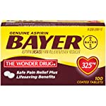 Genuine Bayer Aspirin 325mg Coated Tablets, Pain Reliever and Fever Reducer, 100 Count 12 Provides safe, proven pain relief when taken as directed Is caffeine-free Is sodium-free