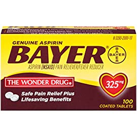 Genuine Bayer Aspirin 325mg Coated Tablets, Pain Reliever and Fever Reducer, 100 Count 7 Provides safe, proven pain relief when taken as directed Is caffeine-free Is sodium-free