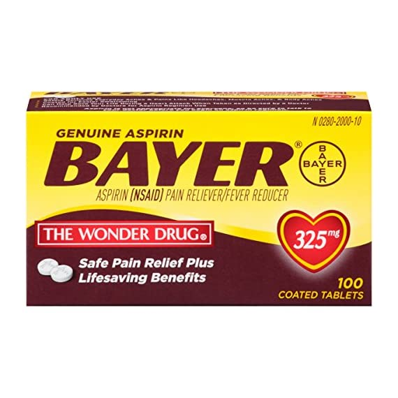 Genuine Bayer Aspirin 325mg Coated Tablets, Pain Reliever and Fever Reducer, 100 Count 1 Provides safe, proven pain relief when taken as directed Is caffeine-free Is sodium-free