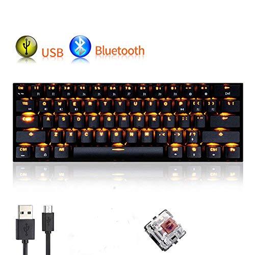 Tastiera Bluetooth Urchoiceltd® RK61 104 LED Nero Cablato / Wireless Illuminazione LED Macchina Di Ricarica Tastiera da Gioco Computer Portatile Interruttore Nero / Blu / Rosso / Marrone