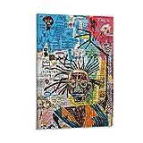 LSYR Póster abstracto de Jean Michel Basquiat en lienzo y arte de la pared, impresión moderna para dormitorio familiar de 60 x 90 cm