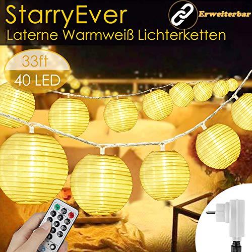40 LED Lampions Lichterkette Außen Strom, Aktualisierte Version Erweiterbar 8 modi 10M Warmweiß Lichterkette Lampion mit Fernbedienung & Stecker, Laterne Beleuchtung Outdoor für Party Balkon Garten
