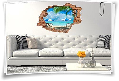 Medianlux 3D muurdoorbraak muurschildering muursticker sticker strand ligstoel parasol vakantie