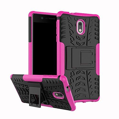 QiongniAN Funda para Nokia 3,Teléfono con Soporte a Prueba de Golpes Funda para Nokia 3 TA-1020 TA-1032 Carcasa Case Funda Pink