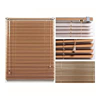 ZEMIN カーテン 模造木目ブラインド、キッチン/バスルーム/オフィスブラインドに使用、日除けローラーブラインド、アルミニウム合金材料、カスタマイズ可能 (Color : Brown, Size : 75x225cm)