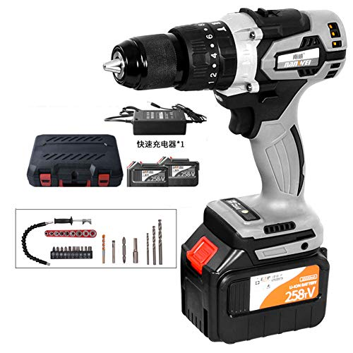 FYYTRL Cordless Drill Driver, 258TV Large Torque Combi Drills with Battery, Durable High Load Hammer Drill Set, for Furniture DIY Assembly, Remove Screw, Metal Hole