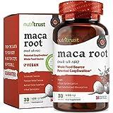 Maca Root 400iu Capsules by Nutritrust® - Sourcing en polvo de Maca Root de alimentos integrales - súper alimento denso en nutrientes con alta potencia 2500 mg Fácil de tragar Caps - GMP Certified
