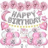 AYUQI Decoración de cumpleaños de Niña, Pancarta de Feliz Cumpleaños Brillantes, Globos de Confeti con Letras Globos Rosados y Pompones de Papel, Decoraciones para Cumpleaños