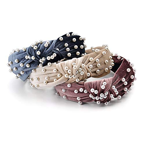 3 Pack Velvet Wide Headbands Knot Turban Headband Vintage Hairband with Faux Pearl Elastic Hair Hoops Fashion Hair Accessories for Women and Girls