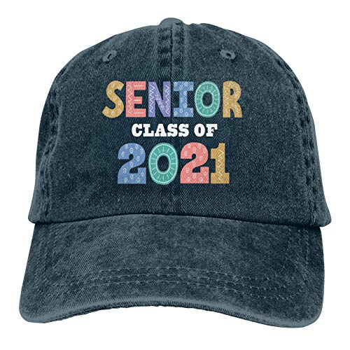 Casquette de baseball unisexe Senior pour la classe de 2021 casquette de soleil réglable bleu marine