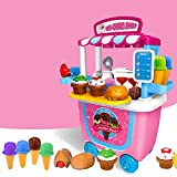 GizmoVine Ice Cream Cart Play Food, Girls Toys Pretend Toddler Toy for Role Play Ice Cream Shop Set 31pcs for Kids Age 2 3 4 5