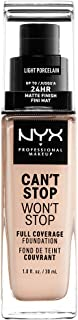 NYX PROFESSIONAL MAKEUP Can't Stop Won't Stop Full Coverage Foundation, Light Porcelain, 1.3 Ounce