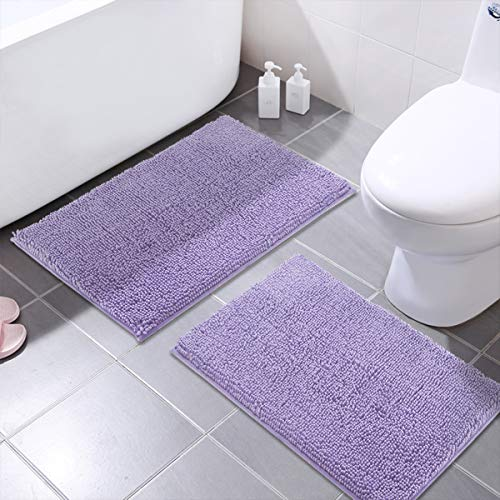 MAYSHINE Chenille Bathroom Rugs Extra Soft and Absorbent Shaggy Bath Mats Machine Wash/Dry, Perfect Plush Carpet Mat for Kitchen Tub, Shower, and Doormats (2 Pack - 20x32 Inches, Lavender)