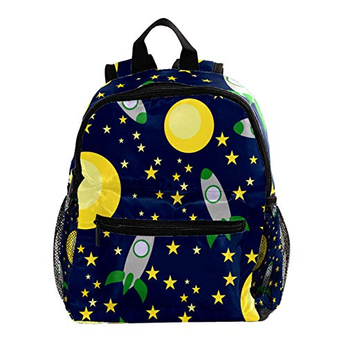 School Backpack Lightweight Schoolbag Travel Camp Outdoor Daypack,Space Rockets Planets
