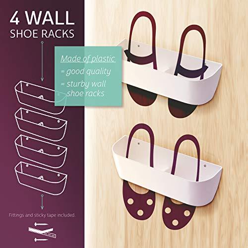 KZshop Wall Mounted Shoe Rack, Set of 4 Hanging Shoe Display Mounted Organizer Flip Flop, Heels, Boots, Slippers Shoe Pocket Storage Shelf Holder On The Door and Wall, Shoe Shelves Hanger (White)