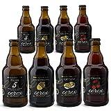 CEREX- Pack Degustación de 8 Cervezas Artesanas - Cerveza de Castaña, Ibérica de Bellota, Cereza y Pils