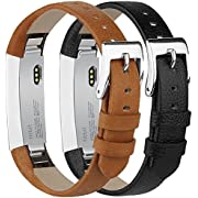 Tobfit Compatible with Fitbit Alta HR and Fitbit Alta Leather Bands Replacement Leather Watch Bands with Stainless Steel Buckle Compatible with Fitbit Alta HR and Alta, 2 Pack