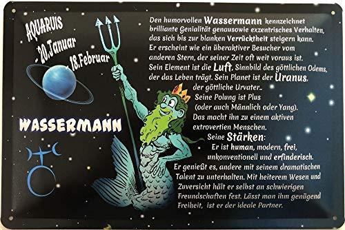 Deko7 blikken bord 30 x 20 cm Aquaruis 20 januari - 18 februari - sterrenbeeld waterman