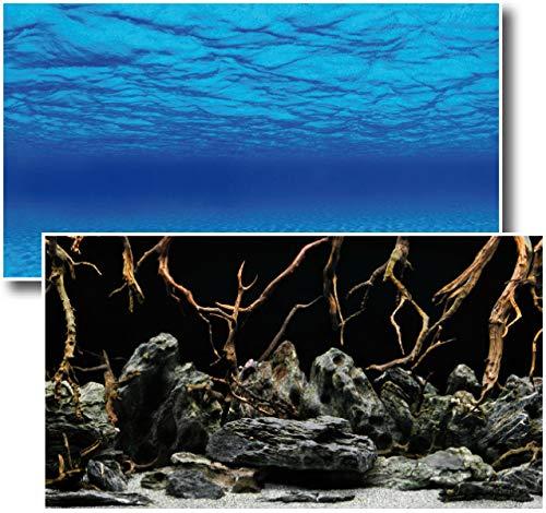 Amtra Deko Fotorückwand Mystic beidseitig Bedruckt 100x60cm 2in1 Rückwandposter Rückwand Folie Aquarien Poster Foto Folien
