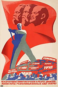 Vintage Soviet Union Propaganda Russian Communist Revolution Red Flag with Lenin Engels and Marx Poster 24x36 Home Decor Print