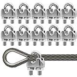 M3 Sujetacables de Acero Wire Rope Clips Abrazadera de Cuerda de Alambre Perno En U para Tensar el...