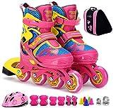LCFF Patines Niños Patines en línea for los niños Roller Skates Cuchillas de Seguridad Pad Casco patín Set Profesional for el Hombre y la Mujer Unisex Adulta (Color : A, Size : S)