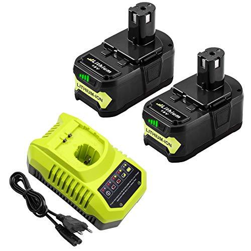 2 uds P108 5.0Ah Batería de Repuesto Boetpcr para Ryobi 18V + Batería de Cargador para Ryobi 18V ONE + Herramientas P108 P107 P104 P105 P102 P103