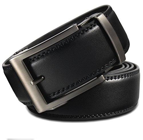 Men's Holeless Leather Ratchet Click Belt - Trim to Perfect Fit...