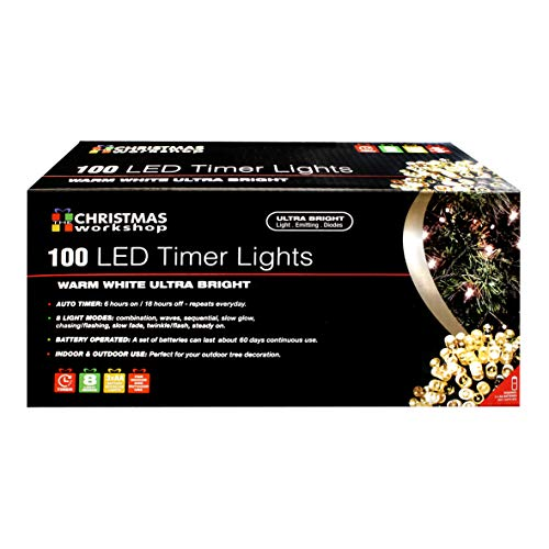 The Christmas Workshop 70330 Warm White Outdoor Christmas Lights | 100 LED Christmas Tree Lights | 9.9 Metres Long | Battery Operated | Indoor/Outdoor Home Christmas Decorations | 8 Light Modes