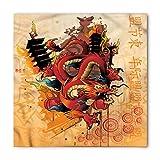 Lunarable Unisex Bandana, Dragon Cartoon Japanese Symbols, Soft Red
