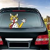 MIYSNEIRN Rear Window wiper Decal Animal Pet Fierce Cat Waving Wiper Sticker 3D Funny Cartoon Festive for Vinyl Bumper Windshield Sticker Waterproof Car Wiper Decal for Rear wiper Vehicle tags Decor