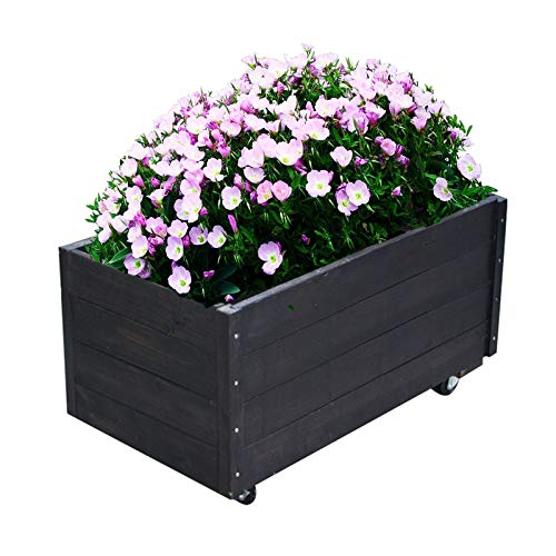 XJJUN Jardinera De Barril, Caja De Flores Extraíble con Ruedas Universales, Soporte...