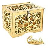 Benjia - Caja para Tarjetas de Regalo, Vintage, Grande, de Madera, para Tarjetas de Dinero...