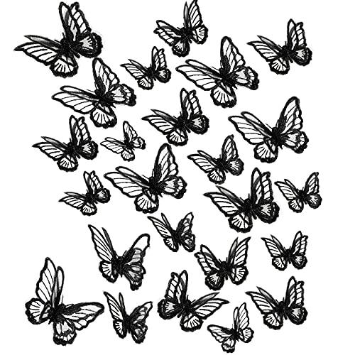 20 Pezzi 2 Taglie Applique Pizzo a Farfalla Patch Ricamo Farfalla Toppe in Organza a Farfalla a Doppio Strato Applique a Farfalla per Nozze Cucito Artigianato DIY Vestiti Capelli (Nero)