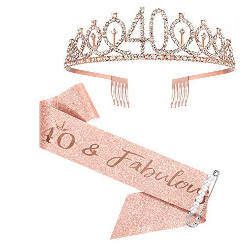 40th Birthday Sash and Tiara for Women, Rose Gold Birthday Sash Crown 40 & Fabulous Sash and Tiara for Women, 40th Birthday Gifts for Happy 40th Birthday Party Favor Supplies