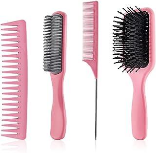 MOPOIN Hårborste, 4 delar utredande borste hårborstar set för kvinnor långt hår huvudmassage, förbättrar blodcirkulatione...